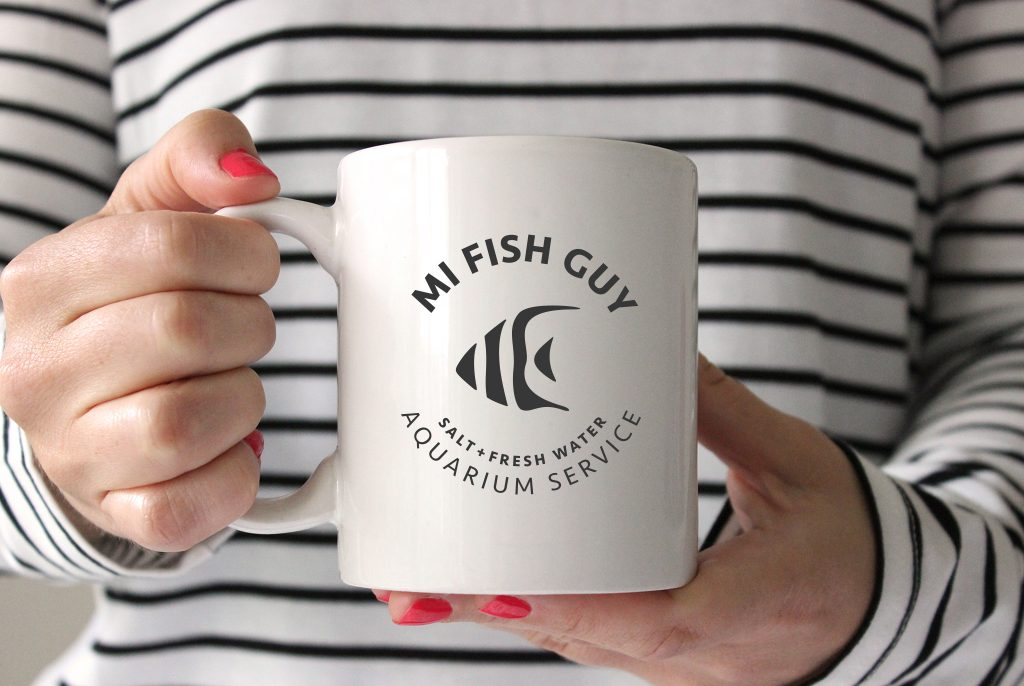 MI Fish Guy logo, logo design, branded logo, branding on coffee mug