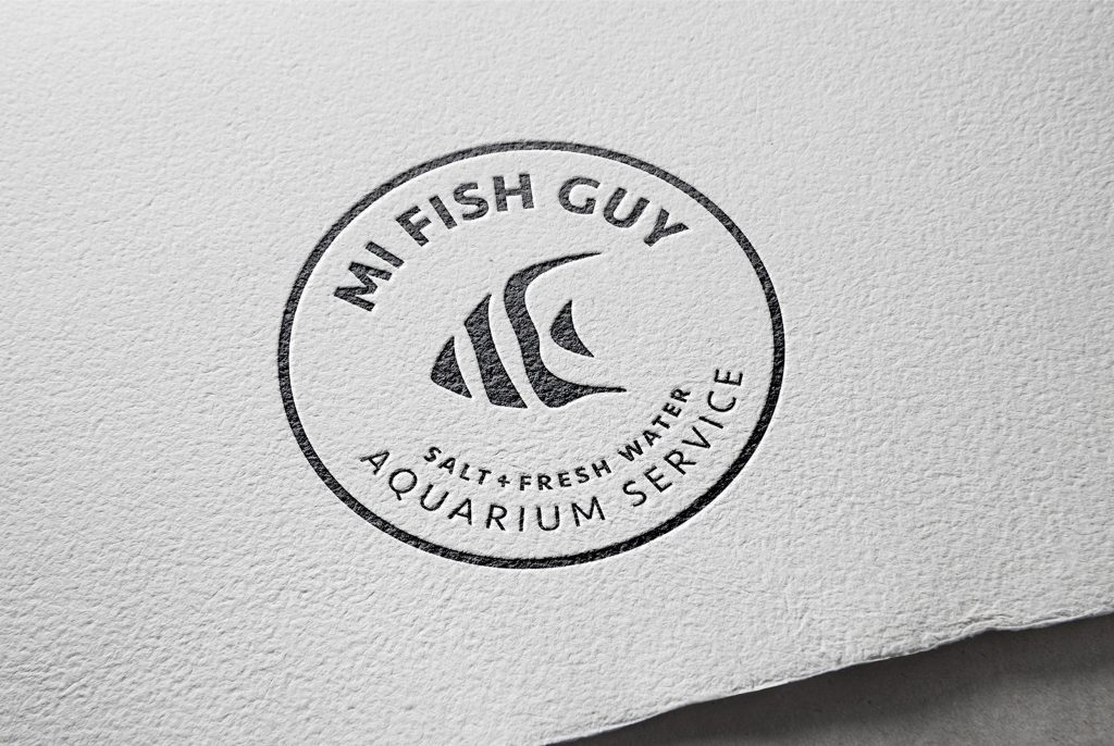 MI Fish Guy logo, logo design, branded logo, branding, embossed logo