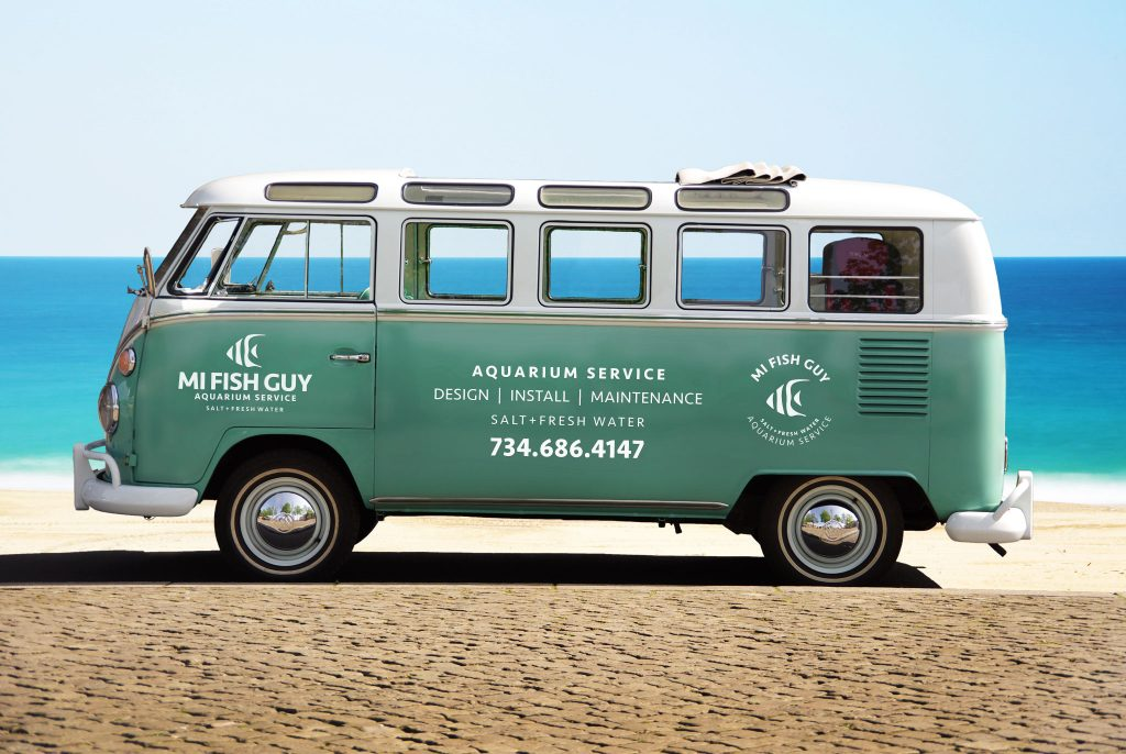 Volkswagen van branding, branding, small business branding, custom logo, logo design, vehicle graphics, graphic design