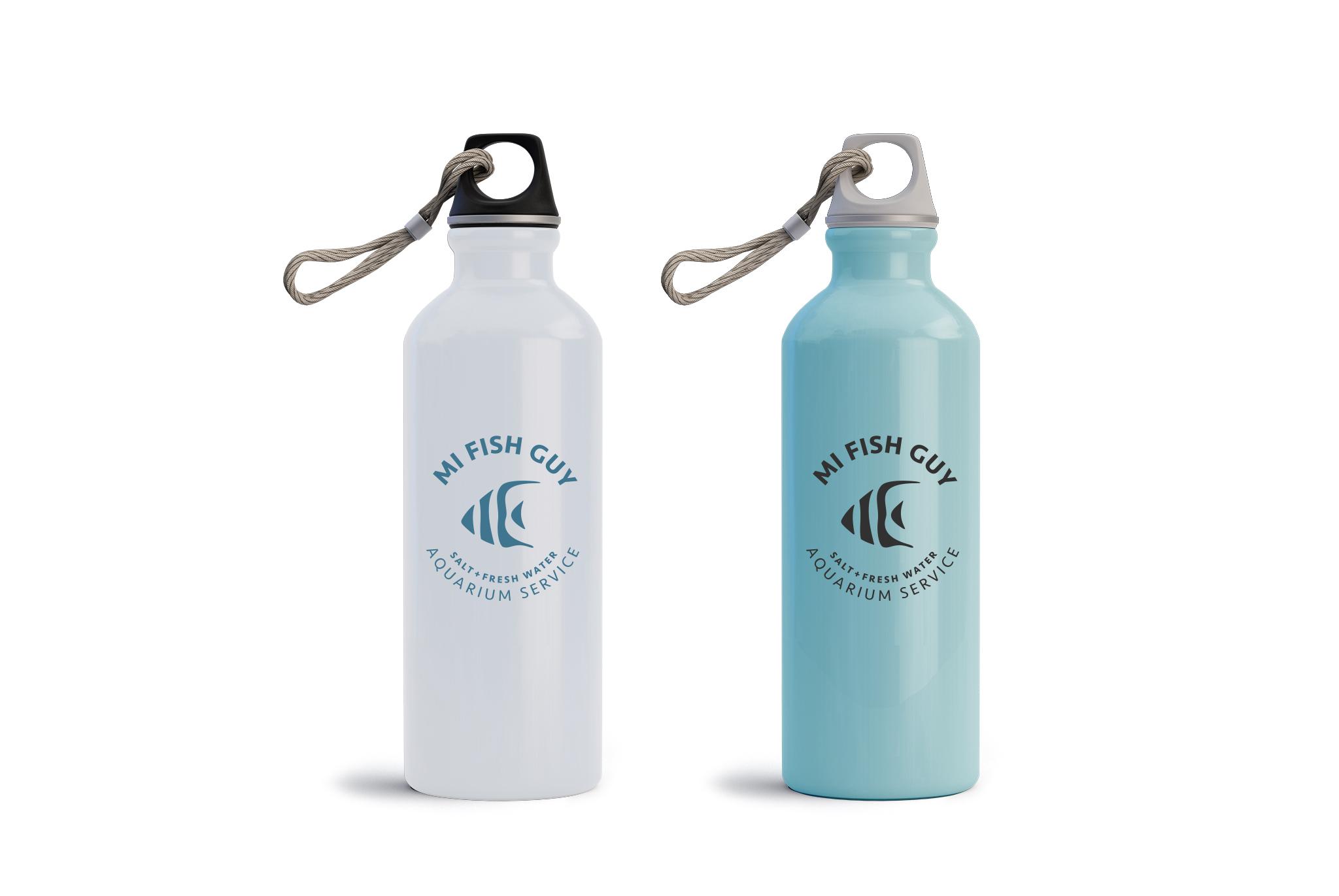 MI Fish Guy logo on water bottle, logo design, branded logo, branding