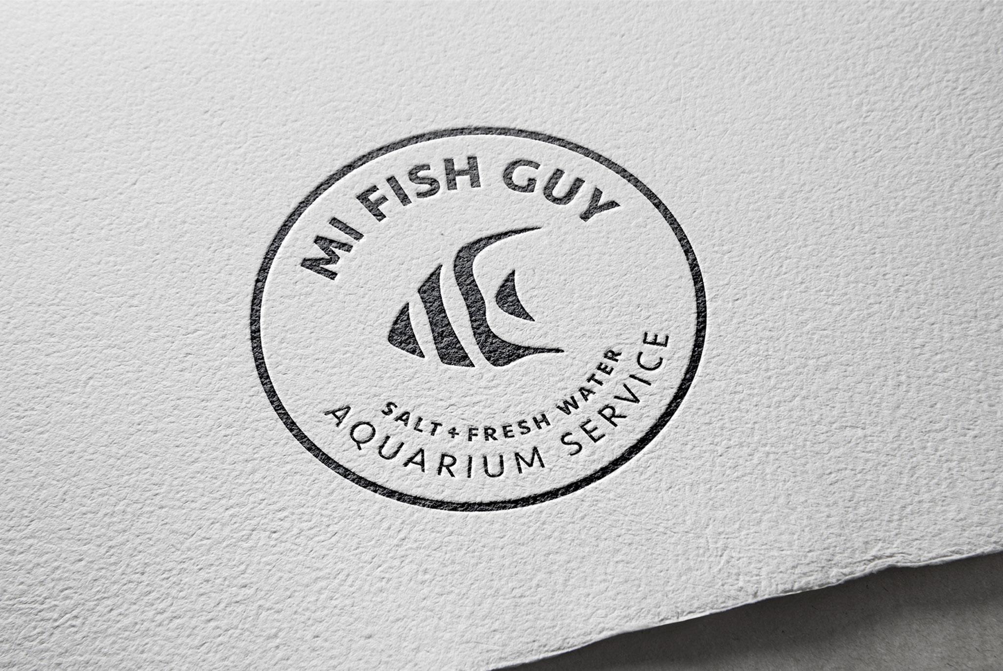 MI Fish Guy logo, logo design, branded logo, branding, embossed logo