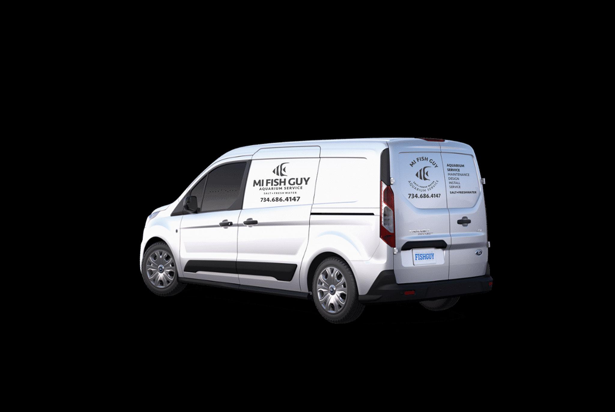 MI Fish Guy logo, logo design, branded logo, branding on van, vehicle graphics